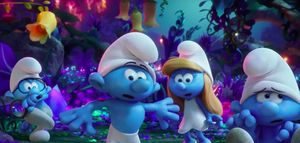 Brainy, Hefty, Smurfette and Clumsy on a journey in