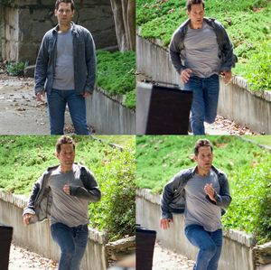 Paul Rudd makes a run for it while shooting a scene for the