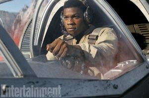 John Boyega's Finn, learning to fly.  The ex-stormtrooper wa