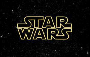 Star Wars logo in sky