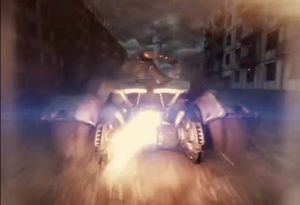 The Batmobile in action during the final battle