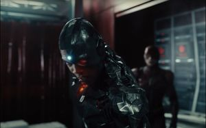 A distressed and sorrowful Cyborg at Star Labs