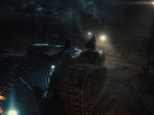 Batman atop the War Machine