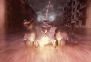 The Batmobile accelerates