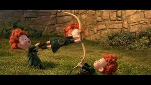 The triplets shoot themselves at the pies in Brave