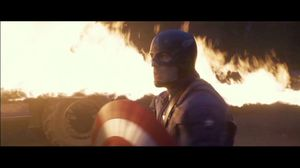 Captain America trapped by flamethrowers