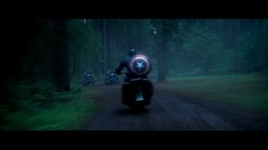 Captain America uses fire to defeat chasing motorcycles