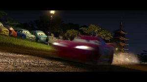 Francesco and McQueen battle in Japanese dirt, Cars 2
