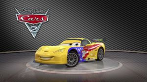 Jeff Corvette shows of his yellow rims and turns around in Cars 2
