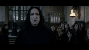 Severus Snape surprised by Harry Potter's sudden appearance