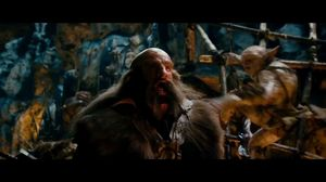 Gandalf and the dwarfs fight the goblins in Goblin-town beneath the High Pass in the Misty Mountains