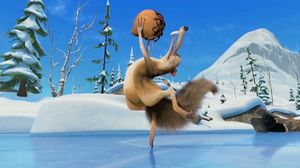 Scrat skates to nut on ice. Ice Age 4