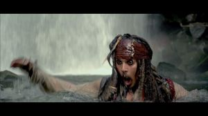 Jack Sparrow Screams but Jumps Down Waterfall in Pirates 4