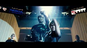 Max dances with the robot in Real Steel