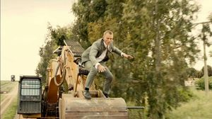 Bond uses excavator to get into train in Skyfall