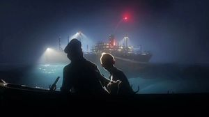 Tintin, Snowy and Captain Haddock try to get away on a boat in The Adventures of Tintin: The Secret of the Unicorn