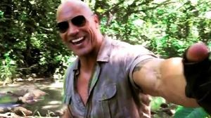 From the set of Jumanji, Dwayne Johnson plays a not-so-funny