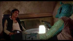 The original cantina scene with Han Solo, Obi-Wan Kenobi, Luke Skywalker, and Chewbacca